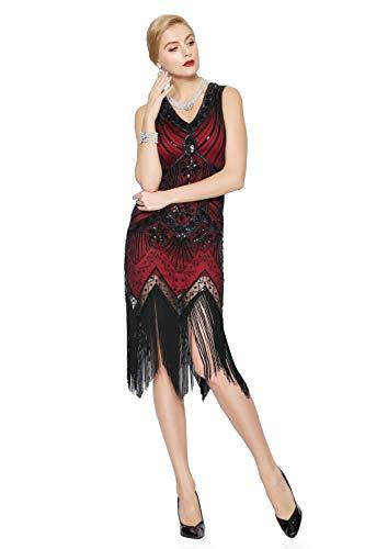 Metme Women's 1920s V Neck Beaded Fringed Gatsby Theme Flapper Dress for Prom,Wine Red,XL