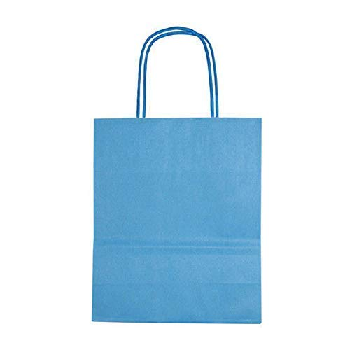 Sky bluee We Can Source It Ltd – Decomposable Kraft Paper Bags with Twisted Handles – Medium A4 Size Paper Bags – 100% Compostable, Biodegradable and EcoFriendly – Sky bluee, 250 Pack
