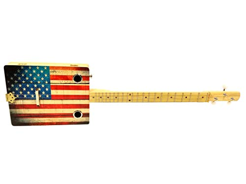 """Old Glory"" 3-string Acoustic-Electric Cigar Box Guitar - Fun to Play, Made in the USA!"