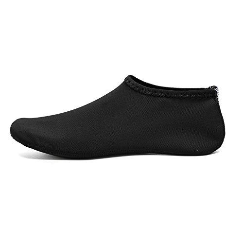 BTDREAM Männer und Frauen Quick-Dry Barfuß Wasser Haut Schuhe Aqua Socken für Beach Swim Surf Yoga Wassergymnastik Schwarz