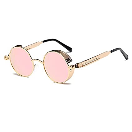 c9ef99bf11 Amazon.com   Haressu - Metal Round Steampunk Sunglasses Men Women Fashion Glasses  Retro Frame Vintage Sunglasses   1     Sports   Outdoors