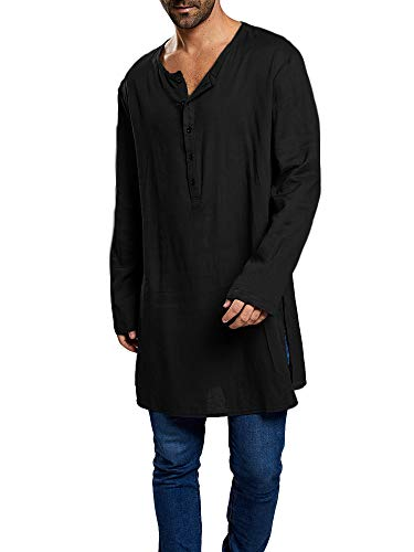 Taoliyuan Mens Abaya Henley Thobe Arabic T Shirt Loose Fit Long Sleeve Kaftan Hip-Hop Longline Tops Black