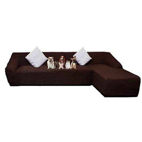 Obokidly Jacquard Anti-Wrinkle L Shaped Sectional Chaise Sofa Slipcovers;Dirstproof Left Right Facing Royal Sofa Cover Protector Baby Pet (Coffee, Sectional Chaise Sofa + 2-Seater Sofa) (Sectional Facing Chaise Right)