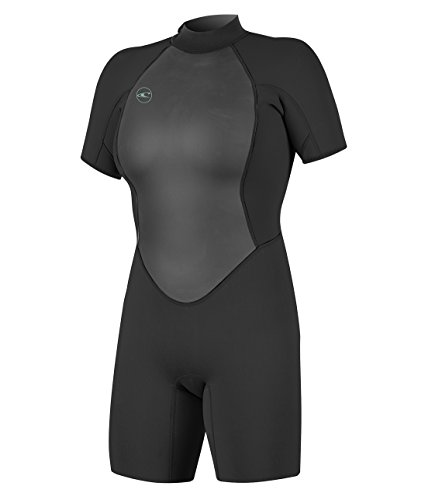 O'Neill Women's Reactor-2 2mm Back Zip Short Sleeve Spring Wetsuit, Black, 16