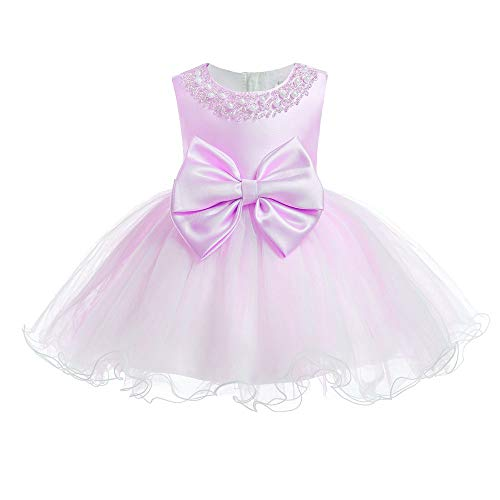 (XIPAI Infant Baby Girl Formal Bridesmaid Birthday Ball Gown Ruffles Layered Dress Baby 18M Toddler 2 Years Old Sleeveless Special Occasions Cake Dresses pinkpurple 24M...)