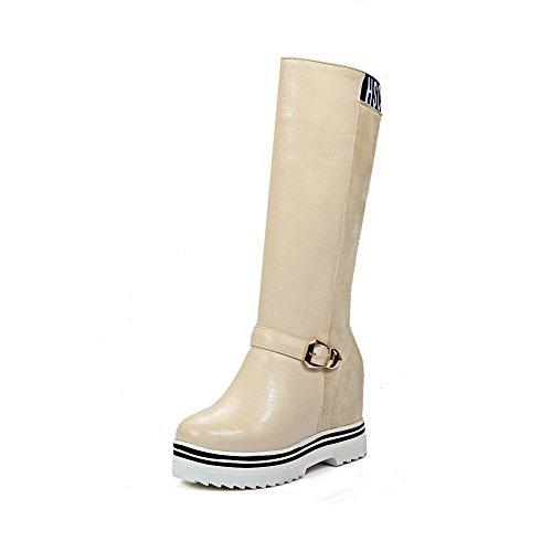 AgooLar Damen Hoher Absatz Ziehen auf Mitte-Spitze Blend-Materialien Stiefel Cremefarben