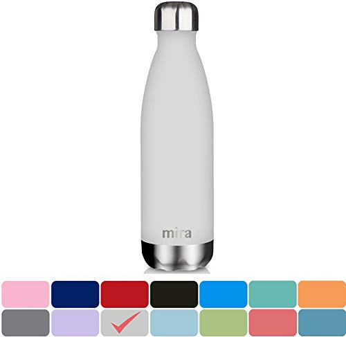 - MIRA 17 Oz Stainless Steel Vacuum Insulated Water Bottle | Leak-Proof Double Walled Powder Coated Cola Shape Bottle | Keeps Drinks Cold for 24 Hours & Hot for 12 Hours | 500 ml Matte Gray