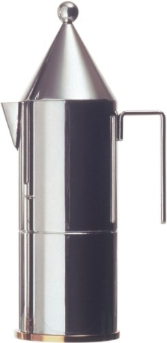 La Conica Espresso / Coffee Maker in Mirror Polished by Aldo Rossi Size: 9.25'' H x 2.95'' Dia. by Alessi (Image #1)
