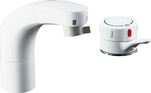 LIXIL(リクシル) INAX 洗面器・手洗器 台付 ホース引出式サーモスタット付洗髪シャワー混合水栓 吐水口長さ135mm ホース引出し長さ約35cm SF-805T