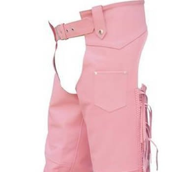 Ladies Pink Cowhide Leather Motorcycle Chaps w silver hardware,adjustable waist, braids and fringes.