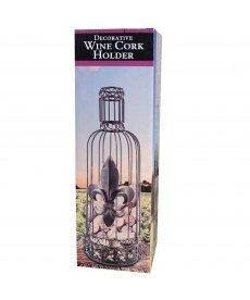 Decorative Bottled Shaped Wine Cork Holder (Metal - Antique Brass Finish)