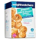 Weight Watchers Crunchy Snacks, Popped Salt & Vinegar Potato Crisps, 5 bags per box (Pack of 4)
