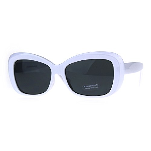 Womens Rectangular Mod Thick Plastic 20s Style Retro Sunglasses White - Style 1920s Sunglasses