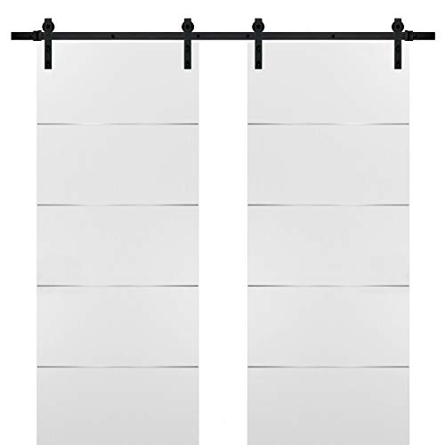 Double Barn Sliding White Doors 72x80 with Black Hardware | Planum 0020 Matte White | Rails 13FT Hangers Steel Set | Closet Modern Solid Core Doors