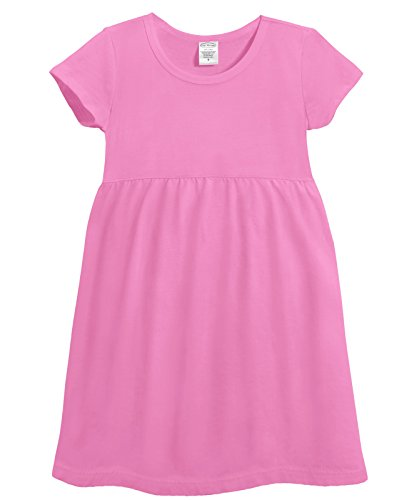 City Threads Girl's All Cotton Short Sleeve Empire Dress High Waist Flowy and Comfortable Top Blouse Shirt for Summer Play School Parties Stylish SPD Sensory Friendly, Medium Pink, (Party City Ct)