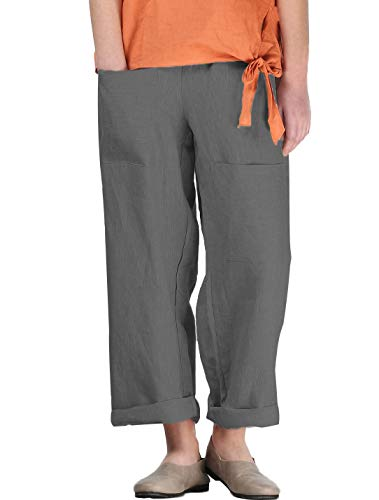 (Mordenmiss Women's Linen Tapered Pants Wide Leg Ankle Trousers With Two Front Pockets(M,Gray))