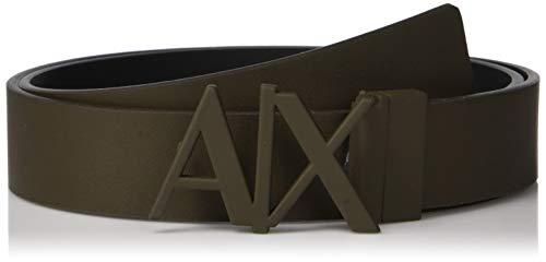 Armani Exchange Men's Skinny Leather Logo Belt, Wren/Black, 36 (Ax Men Belt)