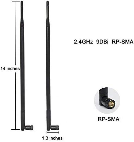 HUACAM HCM19 2 x 2.4GHz 9dBi Antena Omnidireccional de Interior 802.11n / b/g RP-SMA Hembra Conector + 2 x 15cm U.FL Mini PCI a RP-SMA Pigtail Antena ...