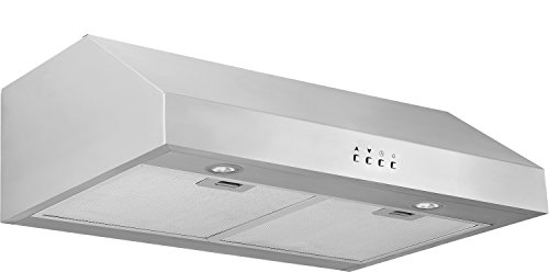 Ancona 450 CFM Stainless Steel 9.75-Inch High Under Cabinet Range Hood with Square Buttons, 30-Inch
