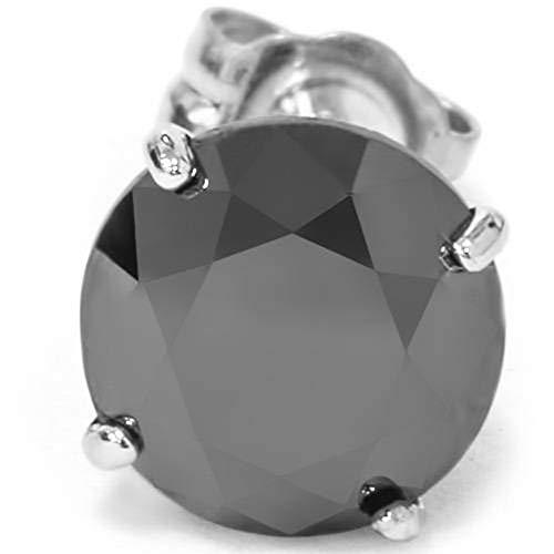 Mens 1/2ct Black Diamond Stud Earring 10K White Gold (Black And White Diamond Earrings White Gold)