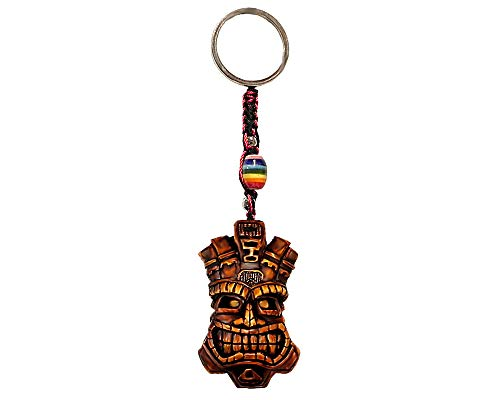 (Grinning Polynesian Tiki Head Mask Handpainted Figurine Dangle Handmade Keychain Multicolored Braided Macramé Bead Silver Keyring Hanging Ornament Charm Car Bag Accessory)