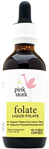 Pink Stork Liquid Folate: Lemon Peel Folate -Organic Folate Supplement from Lemons -Promotes Healthy Prenatal Development, Energy Levels, & More -100% Doctor Recommended Value for Pregnancy 2 oz