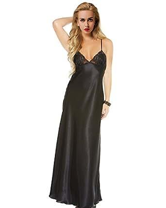 ETAOLINE Women Satin Nightgown Lace Lingerie Trimmed Full Length ...