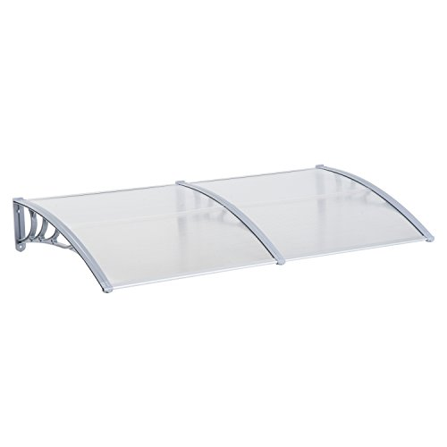 Outsunny Clear Polycarbonate Patio Porch Door and Window Awning Cover - Grey (80
