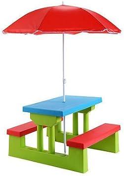 4 Seat Kids Picnic Table w//Umbrella Garden Yard Folding Children Bench Outdoor