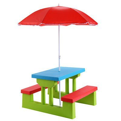 (Everything Jingle Bell 4 Seat Kids Picnic Table w/Umbrella Garden Yard Folding Children Bench Outdoor)