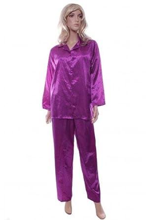 378cddaa347c Marlon Ladies Purple With Silver Spot Satin Pyjamas Size 18-20 Long Sleeve  Pjs  Amazon.co.uk  Clothing