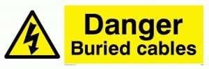 Peligro enterrado cables–señal de advertencia
