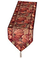 Autumn Design - HomeCrate Fall Harvest Collection, Tapestry Pumpkins and Autumn Leaves Design Table Runner, 13