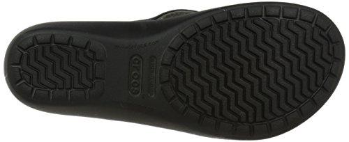 Crocs - Damen Capri Leder Flip Sandalen Black/Black