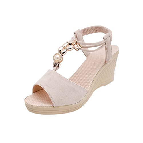 Women Wedges Beaded Necklaces Casual Roman Sandals for sale  Delivered anywhere in USA