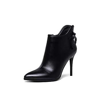 ZHZNVX Zapatos de Mujer Nappa Botas de Moda de otoño e Invierno Botas de tacón de Aguja Punta Estrecha Botines/Botines Negros: Amazon.es: Deportes y aire ...