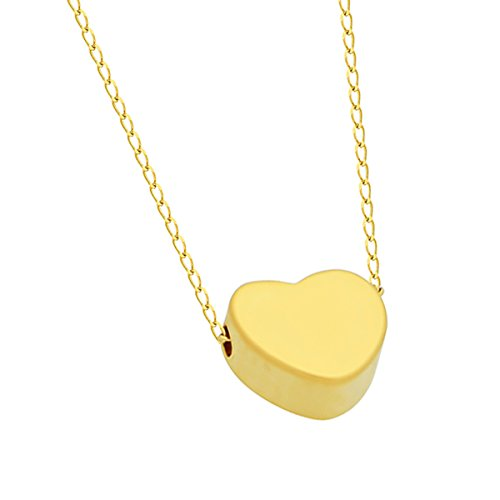 - 925 Sterling Silver Tiny 14K Gold Plated Heart Necklace Floating Gold Heart Necklace Simple Heart Charm Modern Minimalist Jewelry Necklace 15inch + 2 Extension w Lobster Clasp