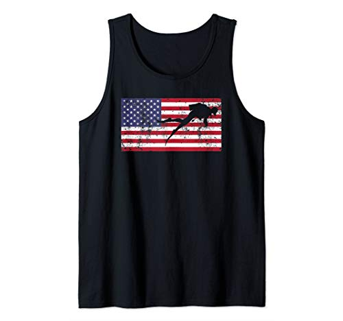 Fourth of July 4th American Flag USA Fun Scuba Diver Diving Tank Top