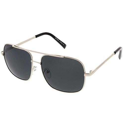 sunglassLA - Classic Square Aviator Sunglasses Straight Metal Crossbar Polarized Lens 58mm (Silver / - Sunglasses Asos Men