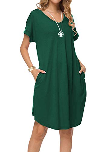 - Women's Summer Casual Loose Dresses Short Sleeve V Neck Split Midi Dress with Pockets (X-Large, Dark Green)