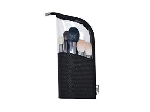 Fashion Vertical Zipper Pouch Semi-circular Transparent Waterproof Storage Bag Makeup Brush Bag (Black01)