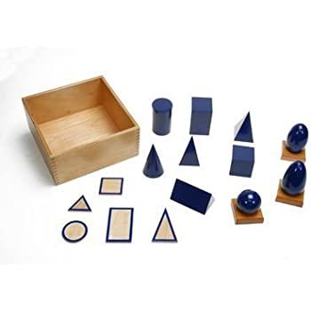 Montessori Geometric Solids With Stands, Bases, and Box