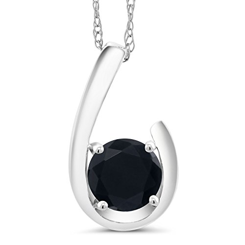 (Gem Stone King 0.70 Ct Round Black Onyx 10K White Gold Pendant With Chain)