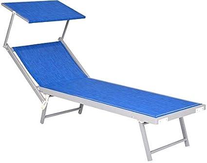 Perfetto per Spiaggia Beige Piscina e Giardino Enrico Coveri Mare Lettino Pieghevole Professionale in Alluminio con Tetto Parasole e Rivestimento in Textilene