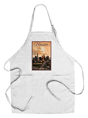 Houston, Texas - Lithograph (Cotton/Polyester Chef's Apron)