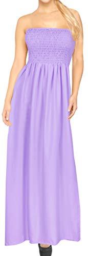 - LA LEELA Rayon Solid Beach Tube Halter Dresses Long  Light Violet 262 One Size
