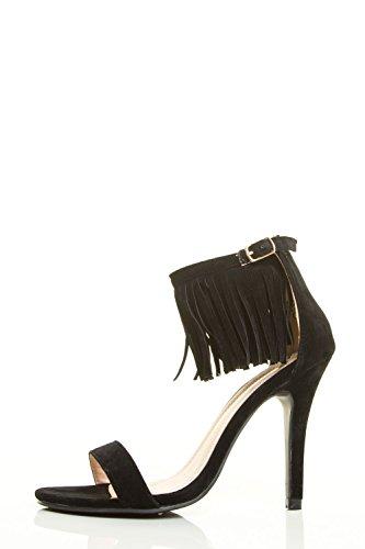 Chase & Chole Donna Open Toe Alta Frange Stiletto Con Cinturino Alla Caviglia Polsino Con Pompon Sandalo Nero