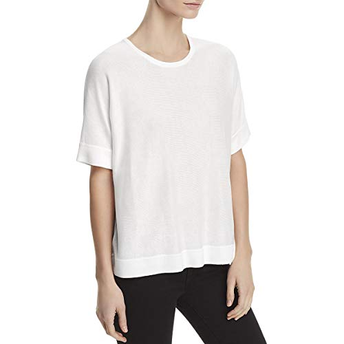 Eileen Fisher Womens Petites Tencel Hi-Low Pullover Sweater White PL