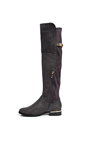 Gold Boots Faux Jada Suede Knee Bar High Ikrush Grey Womens qp68fI