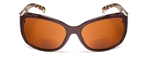 Brown Replica Sunglasses (Jackie O Designer Style Outside Bifocal Reading Glasses - Brown +1.00)